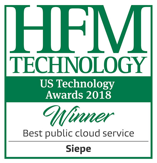 SIEPE, LLC named Best Public Cloud Service at the HFM US Technology Awards Ceremony